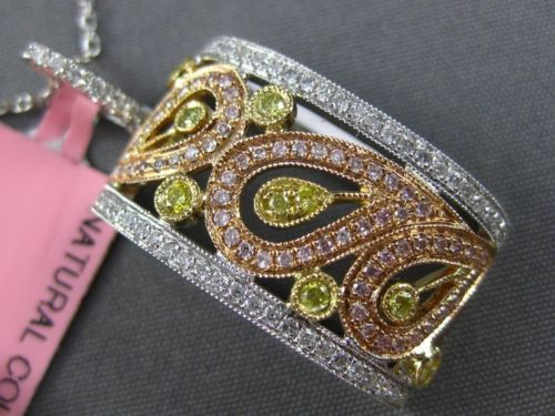 LARGE .62CT WHITE YELLOW & PINK DIAMOND 18K WHITE & ROSE GOLD FILIGREE PENDANT