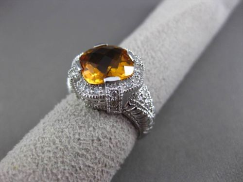 ANTIQUE WIDE 3.96CT DIAMOND & AAA EXTRA FACET CITRINE 14K WHITE GOLD 3D FUN RING