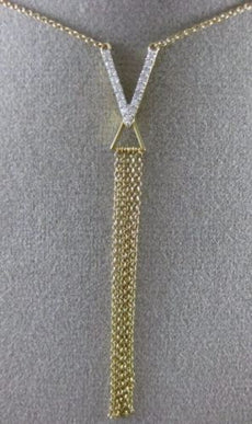 ESTATE LONG .15CT DIAMOND 14KT YELLOW GOLD V SHAPE MULTI STRAND LARIAT NECKLACE