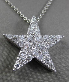 ESTATE LARGE 1.50CT DIAMOND 14KT WHITE GOLD FLOATING STAR PENDANT & CHAIN #23905