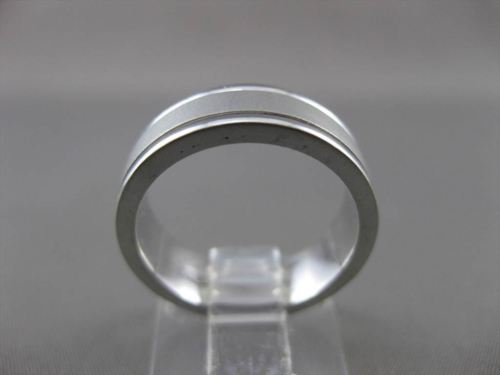 ESTATE 14KT WHITE GOLD MATTE & SHINY WEDDING ANNIVERSARY BAND RING 6mm #23155