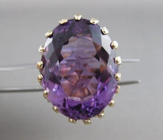 ANTIQUE X LARGE 57CT AMETHYST 14KT YELLOW GOLD FILIGREE COCKTAIL RING 25MM #2348