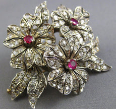 ANTIQUE LARGE 2.63CT ROSE CUT DIAMOND & RUBY 14K YELLOW GOLD & 925 SILVER BROOCH