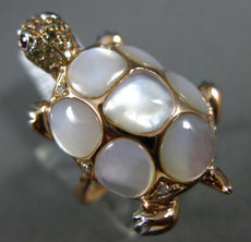 LARGE .11CT DIAMOND & AAA MOTHER OF PEARL 14KT WHITE & ROSE GOLD TURTLE FUN RING