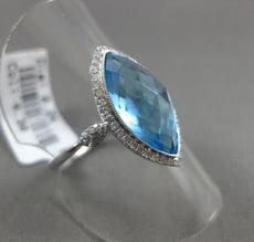 ESTATE 4.54CT DIAMOND & AAA BLUE TOPAZ 14KT WHITE GOLD 3D MARQUISE HALO FUN RING