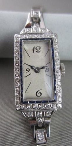 ANTIQUE 1.42CT OLD MINE DIAMOND & AAA SAPPHIRE PLATINUM WATCH STUNNING! #21967
