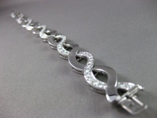 ESTATE WIDE 3.20CT DIAMOND 14KT WHITE GOLD INFINITY BRACELET SIMPLY AMAZING 2838