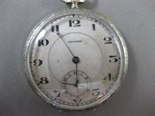 ANTIQUE 14KT WHITE GOLD FILIGREE HOWARD POCKET WATCH FROM LATE 1800'S #17579
