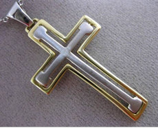 ESTATE LARGE 14KT WHITE & YELLOW GOLD 3D MENS CROSS FLOATING PENDANT CHAIN 24286