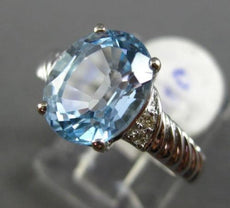 ESTATE 2.50CT DIAMOND & AAA AQUAMARINE 14KT WHITE GOLD 3D OVAL ENGAGEMENT RING