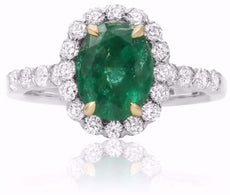 ESTATE 2.43CT DIAMOND & AAA EMERALD 14K 2 TONE GOLD OVAL PYRAMID ENGAGEMENT RING