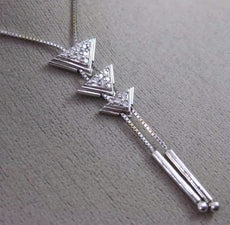 ESTATE .23CT ROUND DIAMOND 14KT WHITE GOLD 3D TRIANGULAR JOURNEY LARIAT NECKLACE