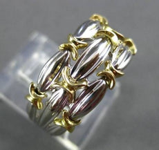 ESTATE LARGE 18KT WHITE & YELLOW GOLD THREE ROW X DESIGN COCKTAIL RING #2883