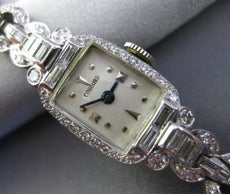 ANTIQUE LONG 4CT OLD MINE ROUND & BAGUETTE DIAMOND PLATINUM CONCORD WATCH #25650