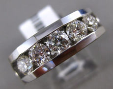 ESTATE WIDE 1.55CT ROUND DIAMOND 14KT WHITE GOLD 3D 5 STONE CHANNEL MENS RING