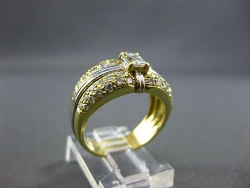 ANTIQUE WIDE 1.50CT DIAMOND 18KT WHITE & YELLOW GOLD ENGAGEMENT F/G VVS RING 140