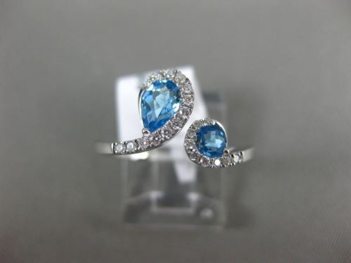 WIDE .81CT DIAMOND & AAA ROUND & PEAR SHAPE BLUE TOPAZ 14K WHITE GOLD SNAKE RING