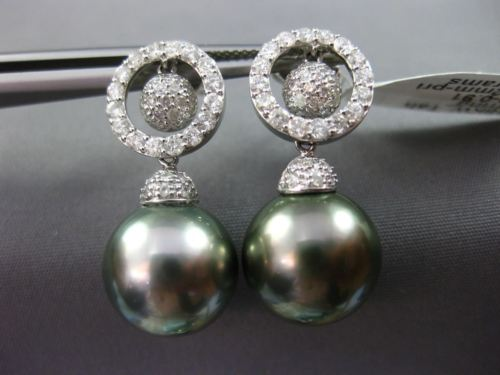 LARGE .91CT DIAMOND & AAA TAHITIAN PEARL 18KT WHITE GOLD CIRCLE OF LIFE EARRINGS