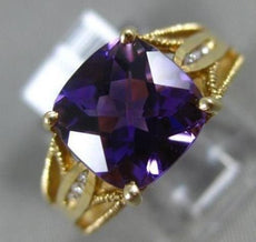 ESTATE 3.06CT DIAMOND & AAA CUSHION CUT AMETHYST 14K YELLOW GOLD ENGAGEMENT RING