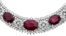 ESTATE LARGE 146.33CT DIAMOND & AAA RUBY 18KT WHITE GOLD OVAL ETERNITY NECKLACE
