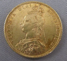 1891 UK FULL GOLD SOVEREIGN QUEEN VICTORIA JUBILEE HEAD ST GEROGE DRAGON #2478