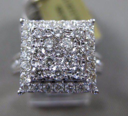 EXTRA LARGE 2CT DIAMOND 14KT WHITE GOLD SQUARE HALO ENGAGEMENT WEDDING RING SET