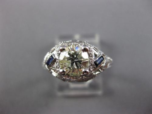 ANTIQUE WIDE .93CT DIAMOND & AAA SAPPHIRE 14KT WHITE GOLD ENGAGEMENT RING 26036