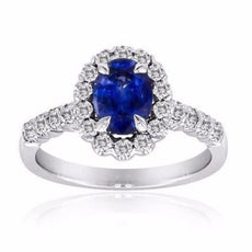 ESTATE 4.13CT DIAMOND & AAA TANZANITE 14K WHITE GOLD 3D CLASSIC ENGAGEMENT RING