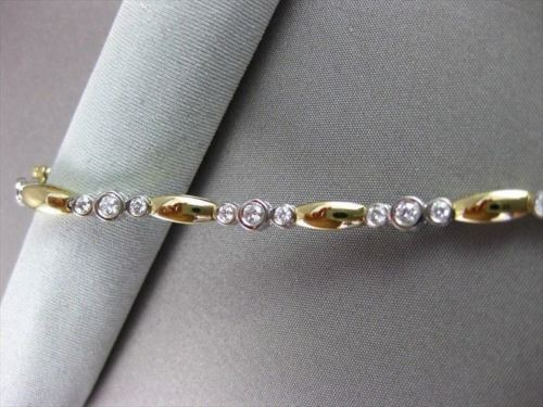 ESTATE 1.10CT DIAMOND 14KT W&Y GOLD PAST PRESENT FUTURE TENNIS BRACELET #15639