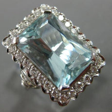 EXTRA LARGE 7.85CT DIAMOND & AAA AQUAMARINE 18KT WHITE GOLD HALO ENGAGEMENT RING