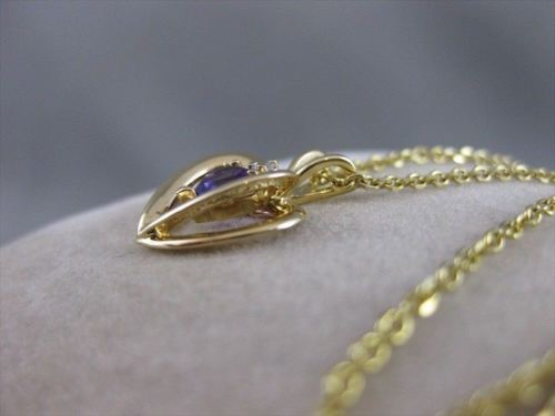 ESTATE DIAMOND AMETHYST HEART 14KT YELLOW GOLD OPEN PENDANT + CHAIN #18MMx12MM