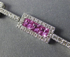 ESTATE LONG WIDE 5CT DIAMOND & AAA PINK SAPPHIRE 14KT WHITE GOLD TENNIS BRACELET