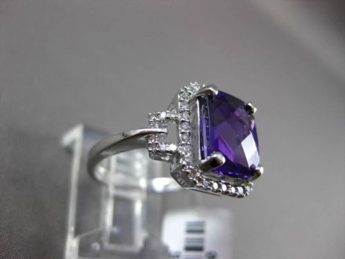 ESTATE WIDE 3.16CTW DIAMOND & AAA EXTRA FACET AMETHYST 14KT WHITE GOLD HALO RING