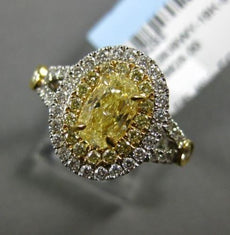 WIDE EGL 1.84CT WHITE & FANCY YELLOW DIAMOND 18K 2TONE GOLD OVAL ENGAGEMENT RING