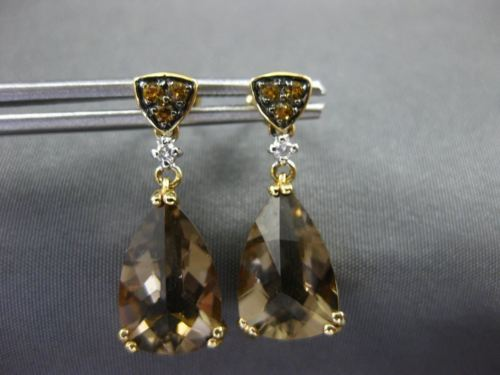 LARGE 5.41CT DIAMOND YELLOW SAPPHIRE & AAA SMOKY TOPAZ 14KT YELLOW GOLD EARRINGS
