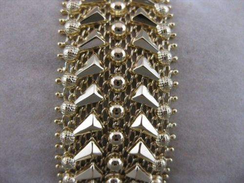 ANTIQUE 26MM WIDE 18KT YELLOW GOLD WEAVE FILIGREE BANGLE BRACELET ITALY #20955