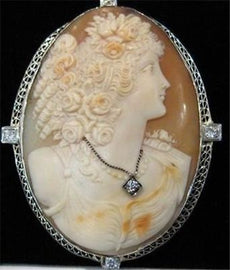 XLARGE ANTIQUE OLD MINE CUT DIAMOND 14K WHITE GOLD SHELL CAMEO PENDANT PIN #1918
