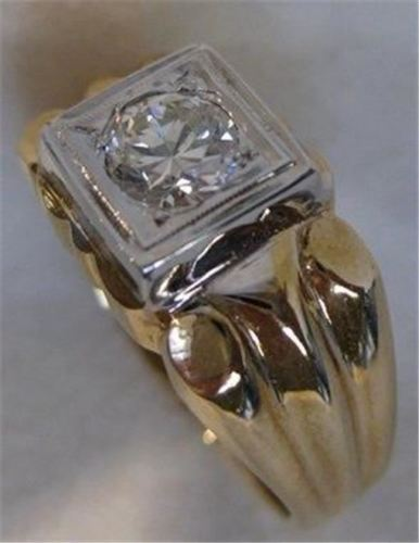 ANTIQUE 14K WHITE YELLOW GOLD .60CT OLD MINE DIAMOND SOLITAIRE MENS RING #519