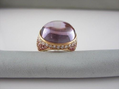 ANTIQUE 24CTW AMETHYST PINK DIAMOND 18K ROSE GOLD RING