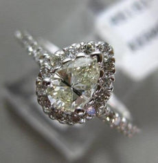 ESTATE .82CT DIAMOND 14KT WHITE GOLD 3D CLASSIC PEAR SHAPE HALO ENGAGEMENT RING