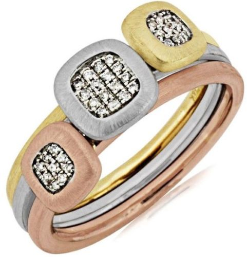 .11CT DIAMOND 14KT WHITE YELLOW & ROSE GOLD 3D SQUARE CLUSTER JOURNEY FUN RING