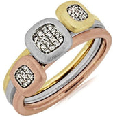 Copy of .11CT DIAMOND 14KT WHITE YELLOW & ROSE GOLD 3D SQUARE CLUSTER JOURNEY FUN RING