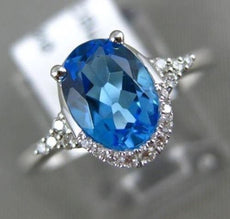 ESTATE 1.50CT DIAMOND & AAA OVAL BLUE TOPAZ 14KT WHITE GOLD 3D FILIGREE FUN RING