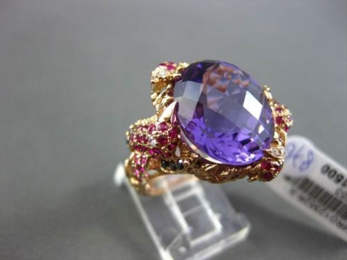 ANTIQUE EXTRA LARGE 12.14CT MULTI COLOR DIAMOND & GEMSTONES 18KT ROSE GOLD RING
