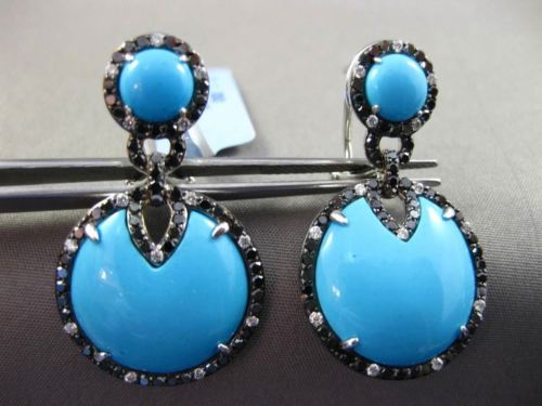 ANTIQUE LARGE 13.1CT MULTI COLOR DIAMOND & AAA TURQUOISE 14K WHITE GOLD EARRINGS