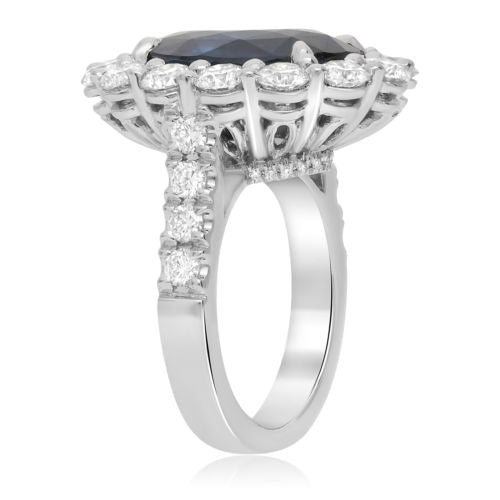 GIA CERTIFIED 14.51CT DIAMOND & AAA SAPPHIRE PLATINUM 3D OVAL FLOWER HALO RING