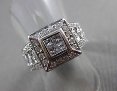 ESTATE LARGE .80CT DIAMOND 18KT WHITE GOLD INVISIBLE SQUARE COCKTAIL RING #21139