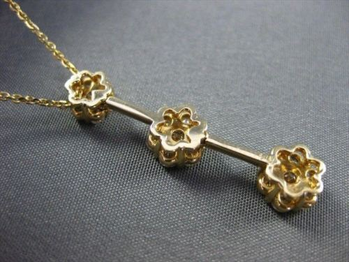 ANTIQUE 1.40CTW DIAMOND 14KT YELLOW GOLD FLOWER PAST PRESENT FUTURE PENDANT #441
