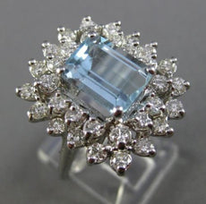 ANTIQUE LARGE 3.85CT DIAMOND & AQUAMARINE 14KT WHITE GOLD CLUSTER COCKTAIL RING