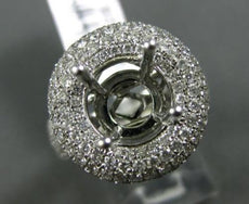 ESTATE LARGE 2.36CT DIAMOND 18K WHITE GOLD ROUND HALO SEMI MOUNT ENGAGEMENT RING
